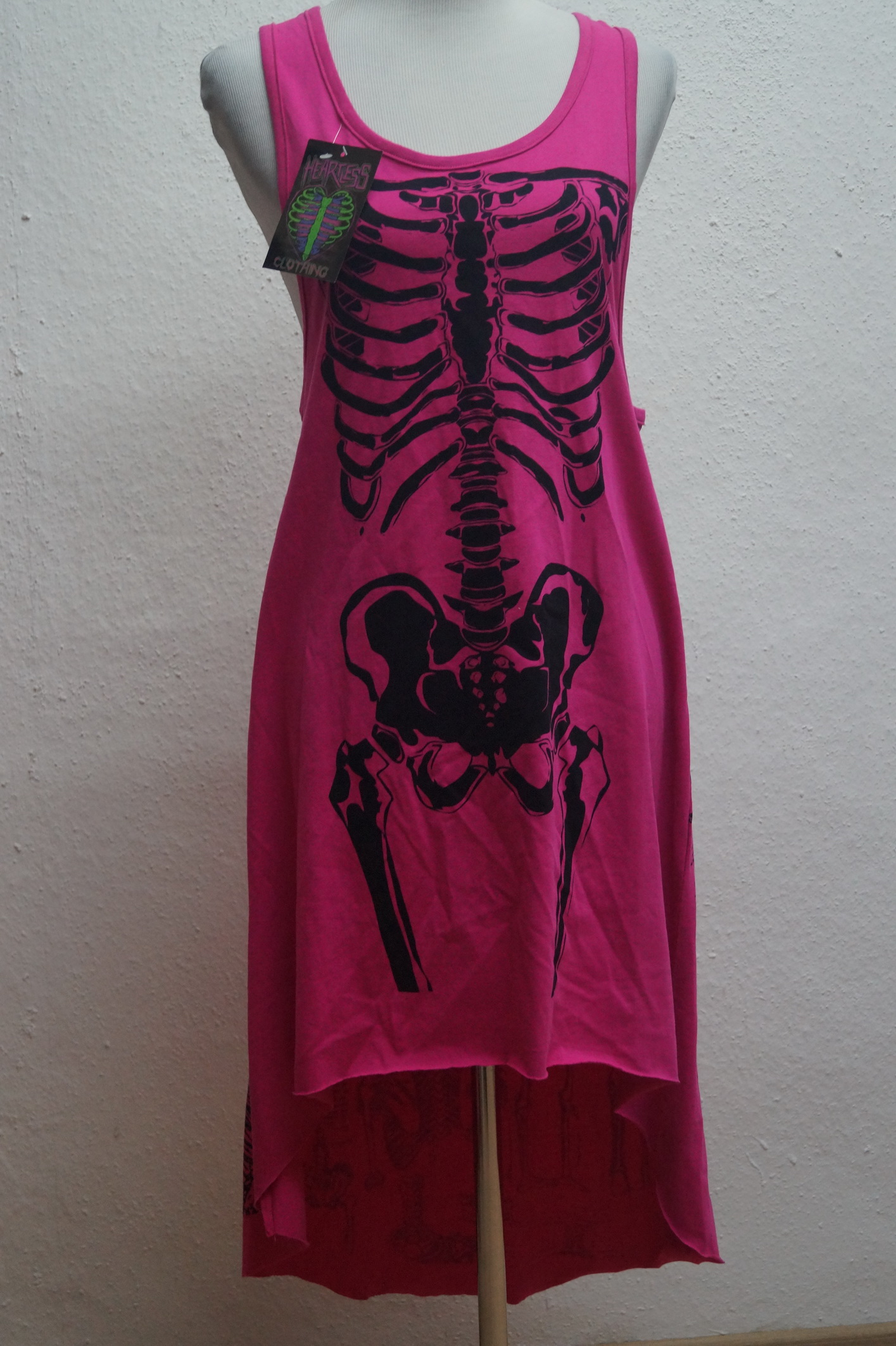Sommer-Kleid Heartless Longshirt Tunika Pink Applikation Skelett Bones Gr.S,M,L