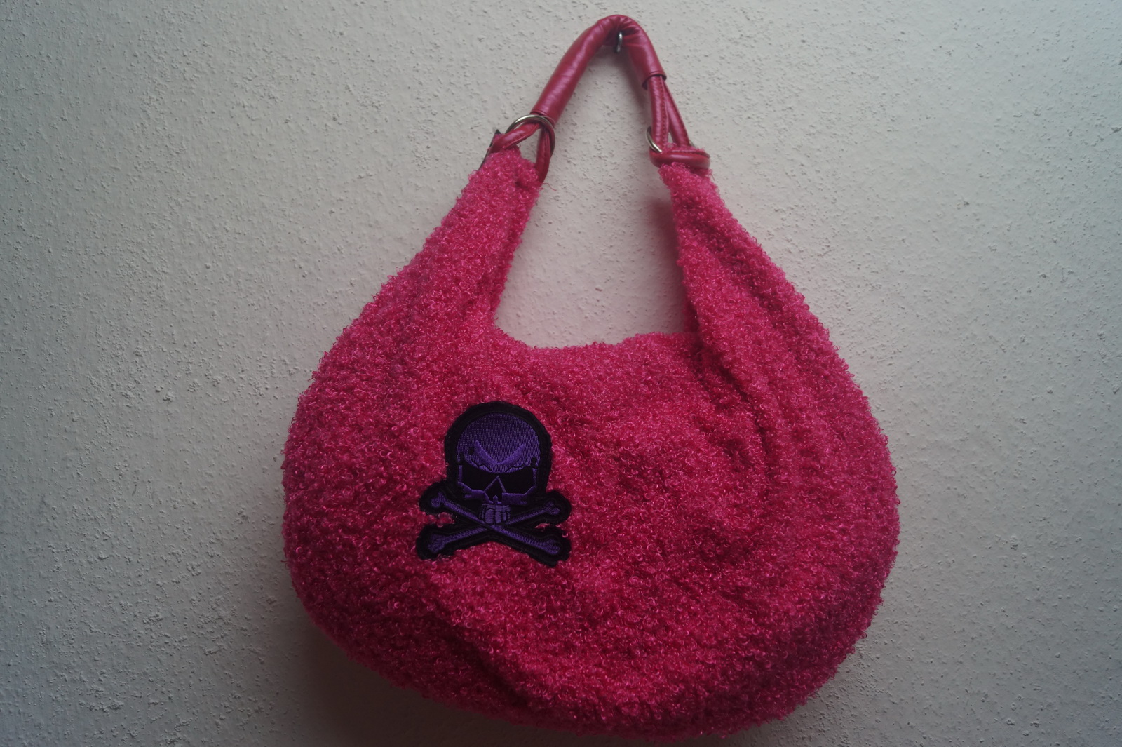 großer Shopper Big Bag Tasche Bouclé Queen of Darkness pink